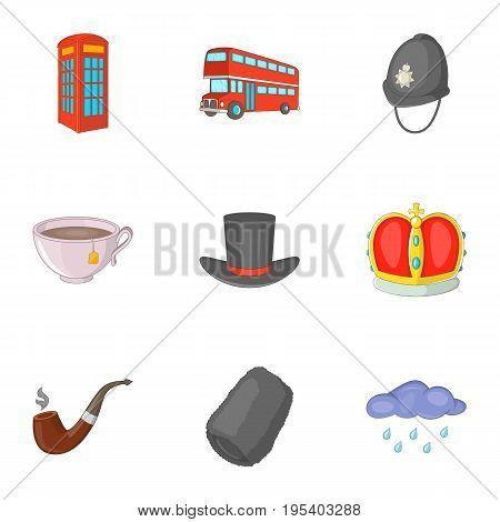 United Kingdom travel icons set. Cartoon set of 9 United Kingdom travel vector icons for web isolated on white background