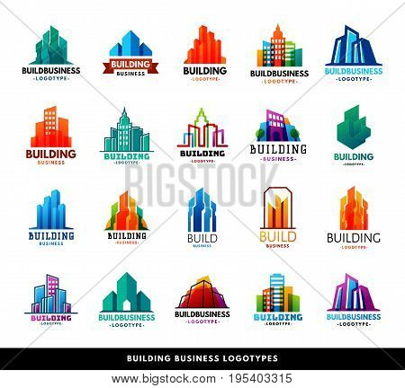 Architecture buildings geometry silhouette skyscraper construction builder developer agency logo badge real estate company vector illustration. Abstract creative corporate city house shape.