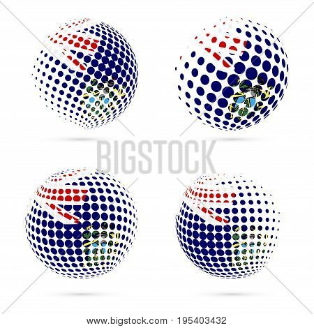 Pitcairn Halftone Flag Set Patriotic Vector Design. 3D Halftone Sphere In Pitcairn National Flag Col
