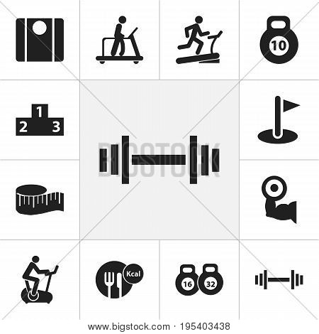Set Of 12 Editable Sport Icons. Includes Symbols Such As Platform For Winner, Healthy Food, Crossbar And More. Can Be Used For Web, Mobile, UI And Infographic Design.