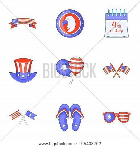 Independence day icons set. Cartoon set of 9 independence day vector icons for web isolated on white background