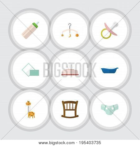 Flat Icon Infant Set Of Nipple, Infant Cot, Nappy And Other Vector Objects. Also Includes Baby, Towel, Bottle Elements.