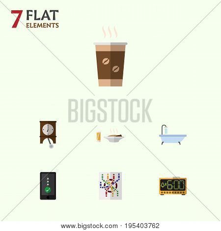 Flat Icon Life Set Of Cappuccino, Lunch, Electric Alarm And Other Vector Objects. Also Includes Router, Smartphone, Shower Elements.