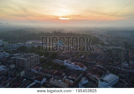 Arial view of Malacca city during sunrise