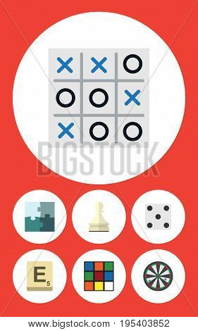 Flat Icon Entertainment Set Of Arrow, Jigsaw, Backgammon And Other Vector Objects. Also Includes Tic, Square, Puzzle Elements.