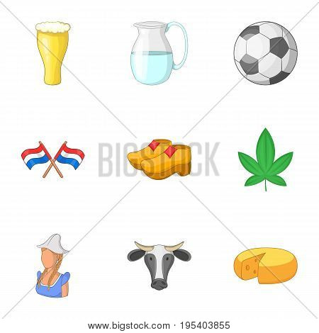 Typical Netherlands icons set. Cartoon set of 9 typical Netherlands vector icons for web isolated on white background