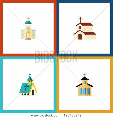 Flat Icon Christian Set Of Religion, Catholic, Architecture And Other Vector Objects. Also Includes Religion, Architecture, Church Elements.