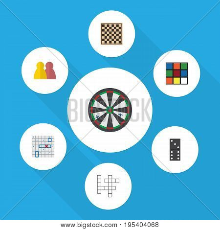 Flat Icon Games Set Of Arrow, Chess Table, Sea Fight And Other Vector Objects. Also Includes Multiplayer, Game, Crossword Elements.