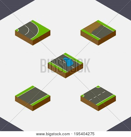 Isometric Road Set Of Asphalt, Incomplete, Plash And Other Vector Objects. Also Includes Bitumen, Puddle, Asphalt Elements.
