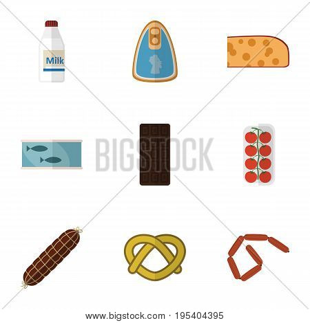 Flat Icon Eating Set Of Cookie, Confection, Smoked Sausage And Other Vector Objects. Also Includes Apple, Cookie, Milk Elements.