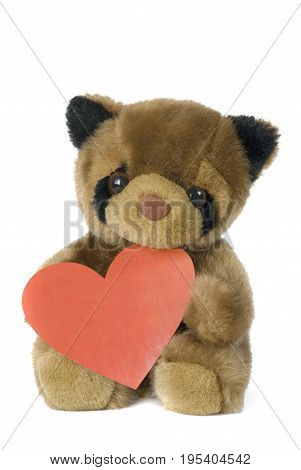 plush bear cub with a scarlet heart on a white background