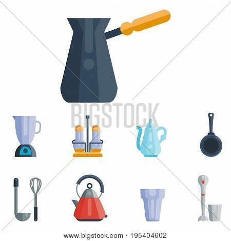 Kitchen utensils icons vector illustration household dinner cooking food kitchenware. Collection dishware bowl preparation cutlery equipment.