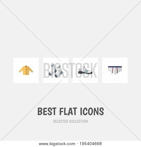 Flat Icon Garment Set Of Banyan, Foot Textile, Sneakers And Other Vector Objects. Also Includes Foot, Underclothes, Gumshoes Elements.
