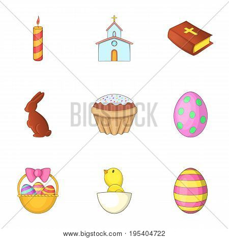 Easter time icons set. Cartoon set of 9 easter time vector icons for web isolated on white background