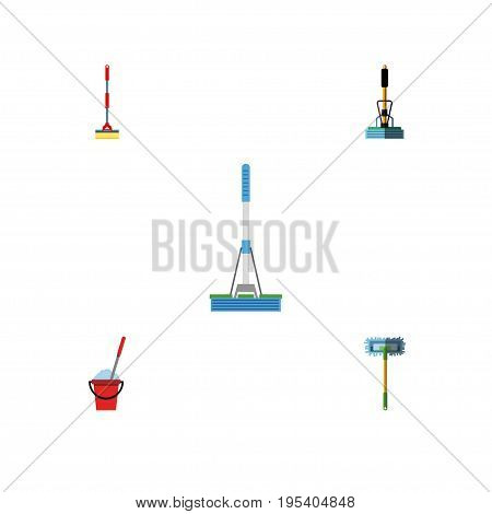 Flat Icon Cleaner Set Of Broom, Sweep, Besom And Other Vector Objects. Also Includes Equipment, Broom, Bucket Elements.