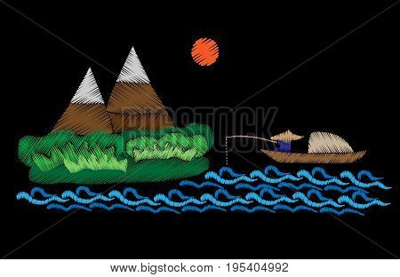 Mountains and fisherman is in a boat fishes with sun embroidery stitches imitation. Mountain landscape with fisherman embroidery vector illustration.