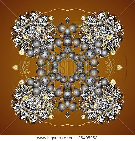 Vector snowflakes background. Snowflakes pattern. Flat design with abstract snowflakes isolated on brown background. Snowflake seamless pattern.