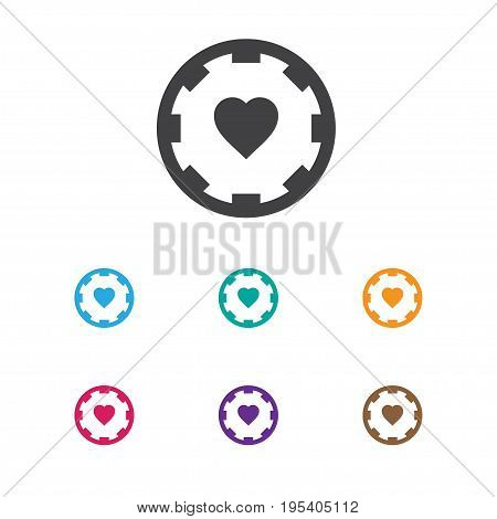 Vector Illustration Of Excitement Symbol On Heart Icon. Premium Quality Isolated Casino Chip Element In Trendy Flat Style.