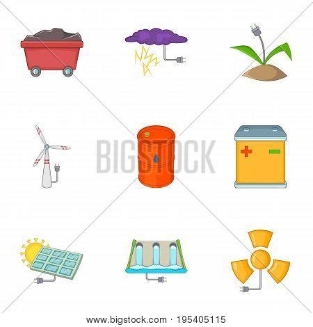Eco energy icons set. Cartoon set of 9 eco energy vector icons for web isolated on white background