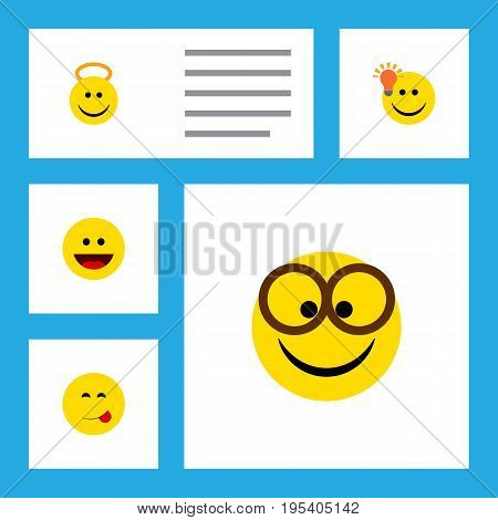 Flat Icon Gesture Set Of Have An Good Opinion, Pleasant, Delicious Food And Other Vector Objects. Also Includes Eyeglasses, Cheerful, Angel Elements.