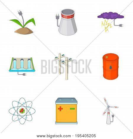 Energy icons set. Cartoon set of 9 energy vector icons for web isolated on white background