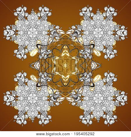 Vector design. Christmas Stylized Snowflakes on a brown Background. Seamless Repeating Pattern.