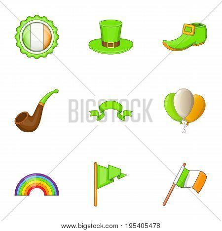 Irish celebration icons set. Cartoon set of 9 irish celebration vector icons for web isolated on white background