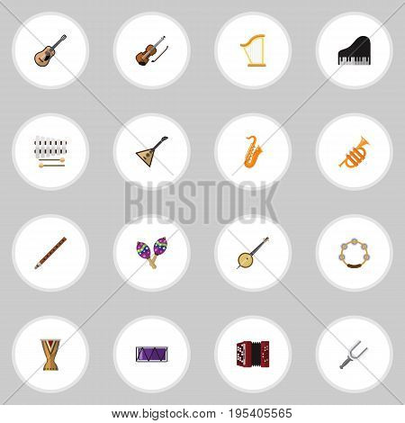 Set Of 16 Editable Media Icons. Includes Symbols Such As Instrument, Beanbag, Piano And More. Can Be Used For Web, Mobile, UI And Infographic Design.