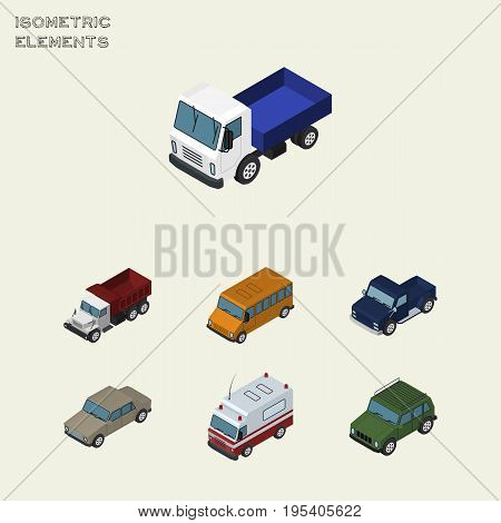 Isometric Transport Set Of Suv, Auto, First-Aid And Other Vector Objects. Also Includes Car, Suv, Freight Elements.