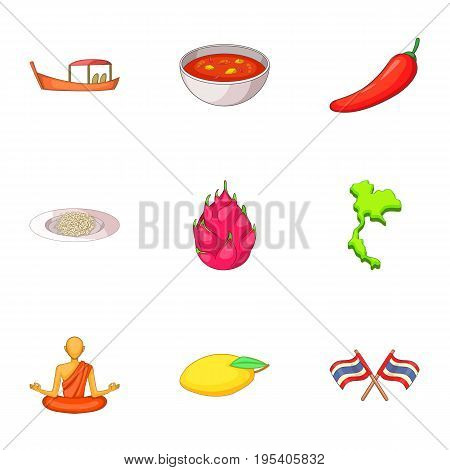 Thailand day icons set. Cartoon set of 9 Thailand day vector icons for web isolated on white background