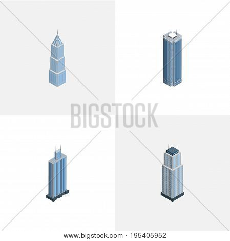 Isometric Skyscraper Set Of Exterior, Tower, Skyscraper And Other Vector Objects. Also Includes Business, Apartment, Cityscape Elements.
