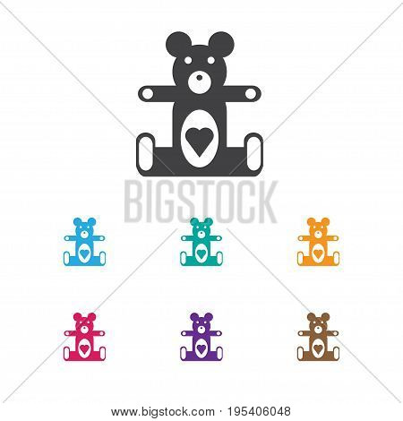Vector Illustration Of Kid Symbol On Teddy-Bear Icon. Premium Quality Isolated Plush Animal Element In Trendy Flat Style.