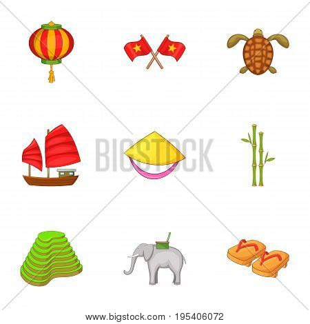 History of Vietnam icons set. Cartoon set of 9 history of Vietnam vector icons for web isolated on white background