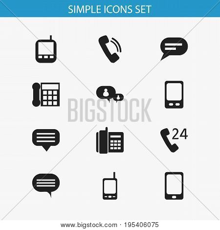 Set Of 12 Editable Gadget Icons. Includes Symbols Such As Mobile, Radio Talkie, Smartphone And More. Can Be Used For Web, Mobile, UI And Infographic Design.