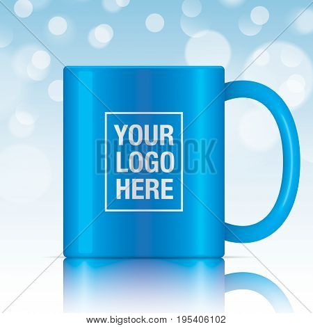 Blue vector coffee mug template isolated on a blue bokeh background. Vector mug mockup for your design.