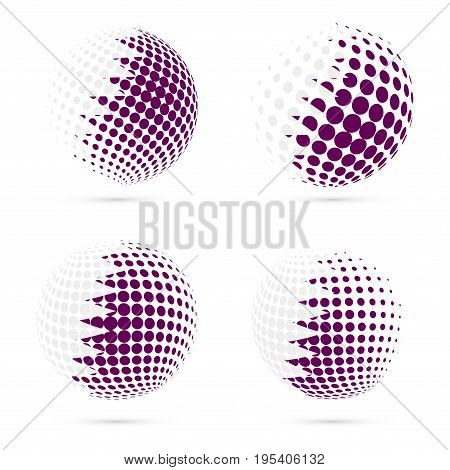 Qatar Halftone Flag Set Patriotic Vector Design. 3D Halftone Sphere In Qatar National Flag Colors Is