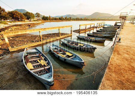 Fishing boats Row of fishing boats at the harbor