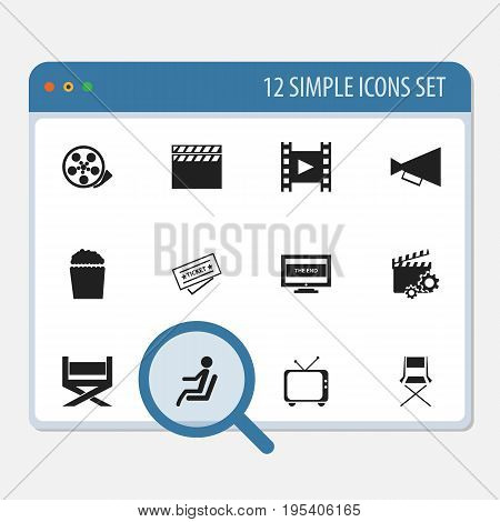 Set Of 12 Editable Filming Icons. Includes Symbols Such As Telly, Camera Strip, The End And More. Can Be Used For Web, Mobile, UI And Infographic Design.
