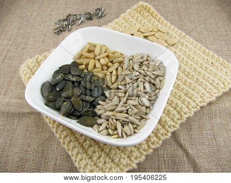 Mix of pumpkin seeds, sunflower seeds and pine nuts