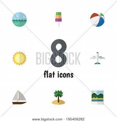 Flat Icon Beach Set Of Ocean, Sundae, Coconut And Other Vector Objects. Also Includes Sphere, Craft, Yacht Elements.
