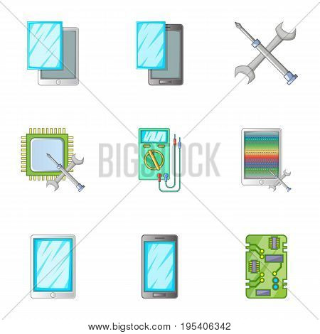 Phone repair servise icons set. Cartoon set of 9 phone repair servise vector icons for web isolated on white background