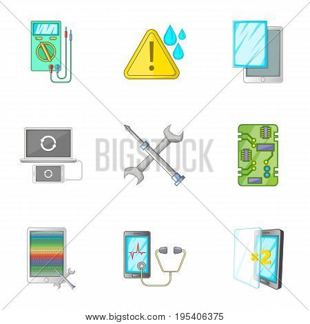 Smartphone repair icons set. Cartoon set of 9 smartphone repair vector icons for web isolated on white background