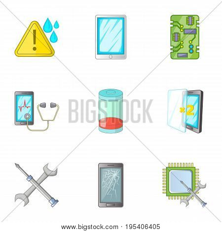 Phone diagnostics icons set. Cartoon set of 9 phone diagnostics vector icons for web isolated on white background