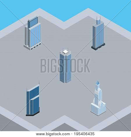 Isometric Skyscraper Set Of Business Center, Urban, Cityscape And Other Vector Objects. Also Includes Urban, Tower, Business Elements.