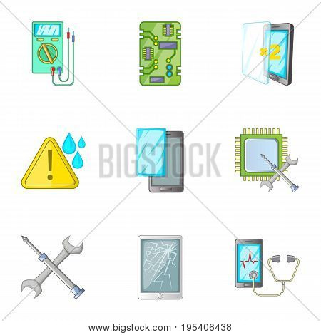 Phone repair tool icons set. Cartoon set of 9 phone repair tool vector icons for web isolated on white background