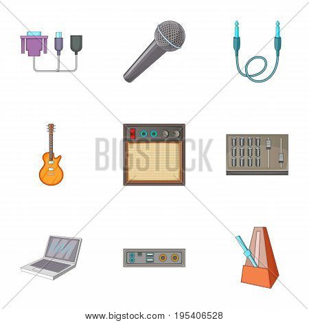 Sound DJ icons set. Cartoon set of 9 Sound DJ vector icons for web isolated on white background