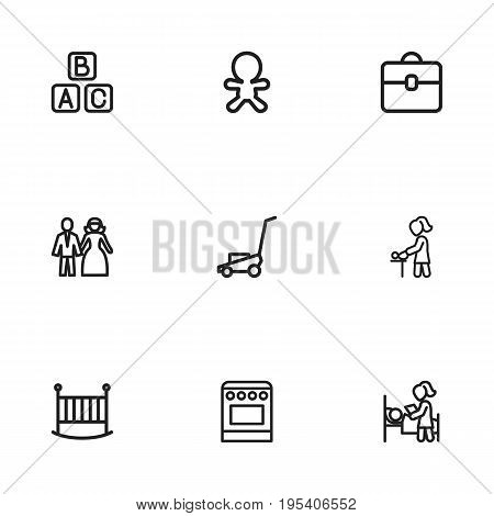 Set Of 9 Editable Kin Icons. Includes Symbols Such As Married, Portfolio, Sleeping And More. Can Be Used For Web, Mobile, UI And Infographic Design.
