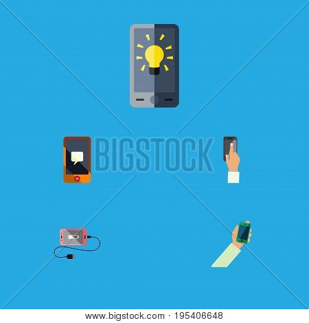 Flat Icon Touchscreen Set Of Chatting, Screen, Keep Phone And Other Vector Objects. Also Includes Interactive, Telephone, Charge Elements.