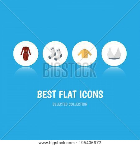 Flat Icon Clothes Set Of Foot Textile, Clothes, Banyan And Other Vector Objects. Also Includes Textile, Garment, Man Elements.