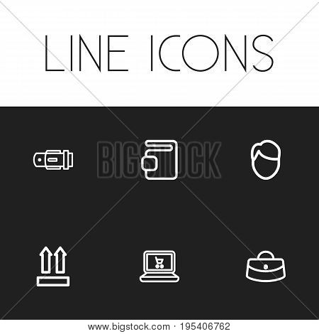 Set Of 6 Editable Shopping Icons. Includes Symbols Such As Online Shopping, Qr Code, Woman Bag And More. Can Be Used For Web, Mobile, UI And Infographic Design.